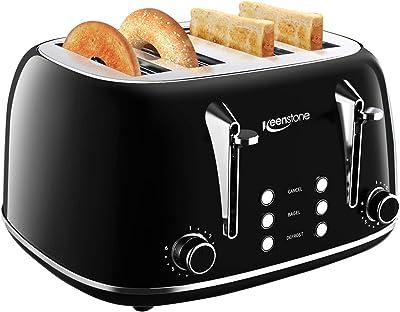 Toasters 4 Slice, Keenstone Retro Stainless Steel Bagel Toaster with Wide Slots, Black