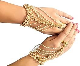 Womensky Golden/Gold Plated Hath Phool/Hand Thong/Pearl Bracelet/Finger Ring Bracelet for Women and Girls