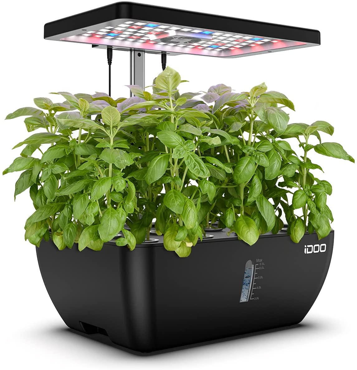 iDOO 12Pods Hydroponics Growing System, Indoor Herb Garden with 6.5L Water Tank, Plants Germination Kit with Pump System, Automatic Timer, Grow Light, Height Adjustable for Home Kitchen Gardening