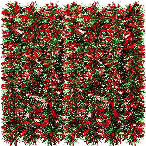 WILLBOND 26.2 Feet Christmas Tinsel Garland Metallic Tinsel Twist Garland Glitter Christmas Tree Hanging Garland Decoration for Christmas Party Indoor and Outdoor Ornament (Red and Green)