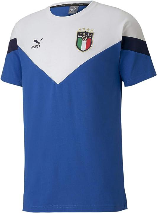 Maglietta nazionale italiana puma italia figc t-shirt iconic azzurra-bianco 2020-21 (m) 4062451357641