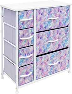 Sorbus Dresser Organizer, for Kids - Boys & Girls Bedroom organization, Baby Dresser - Clothing Organizer, Storage Drawers for Toys - Steel Frame, Wood Top, Fabric, (7-Drawer,Tie-dye Blue/Pink/Purple)