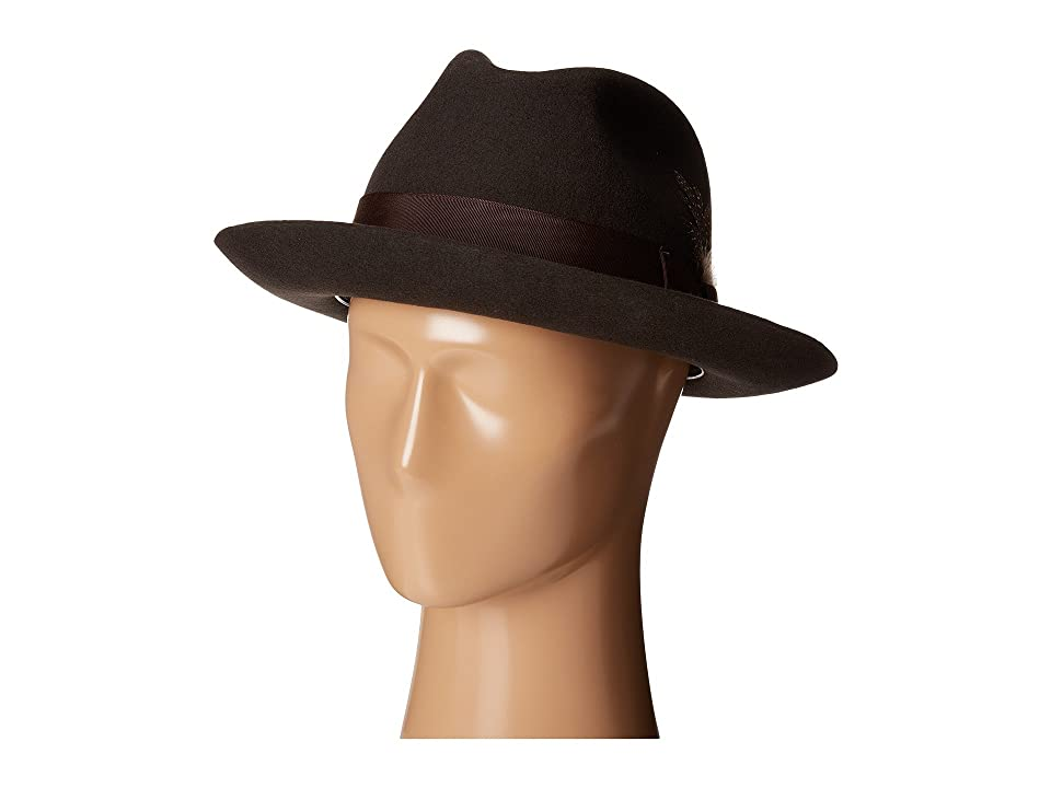 Stacy Adams Wool Felt Fedora w/ Grosgrain Band (Chocolate) Fedora Hats