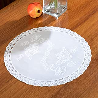 XINXINDENGSHI Set of 12 Round White Placemats - PVC Plastic Thick Environmental Materials Multiple Styles Easy to Clean for Kitchen Dinner Party(15.74 inch(40cm))