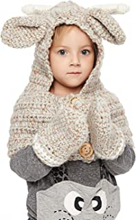 Sumolux Winter Kids Warm Cat Animal Hats Knitted Coif Hood Scarf Beanies for Autumn Winter