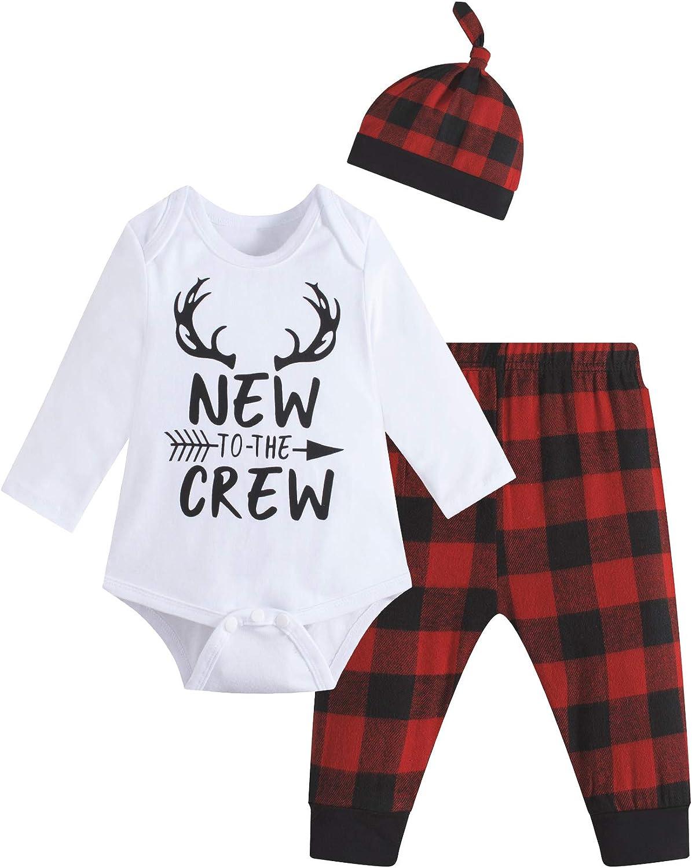 Baby Boys Girls Cute Deer Little Man Short Sleeve Plaid Clothes Outfit Set