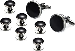 BEAUTY CHARM Men's Tuxedo Shirts Round Cufflinks and Studs Set for Business Wedding Black and Sliver