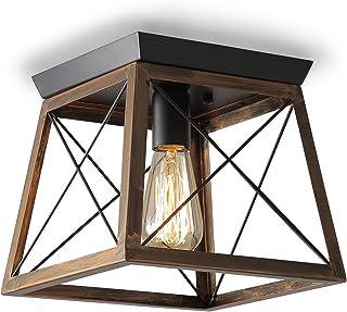 ENCOFT Iluminación de Techo de Interior Industrial, Lámpara de Techo en Metal E27 Base Max 40W, para Dormitorio Sala de Estar Comedor, Negro y Marrón Sin Bombilla