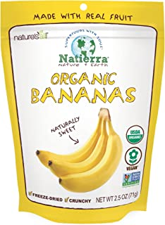 NATIERRA Nature's All Foods Organic Freeze-Dried Bananas | Non-GMO & Vegan | 2.5 Ounce