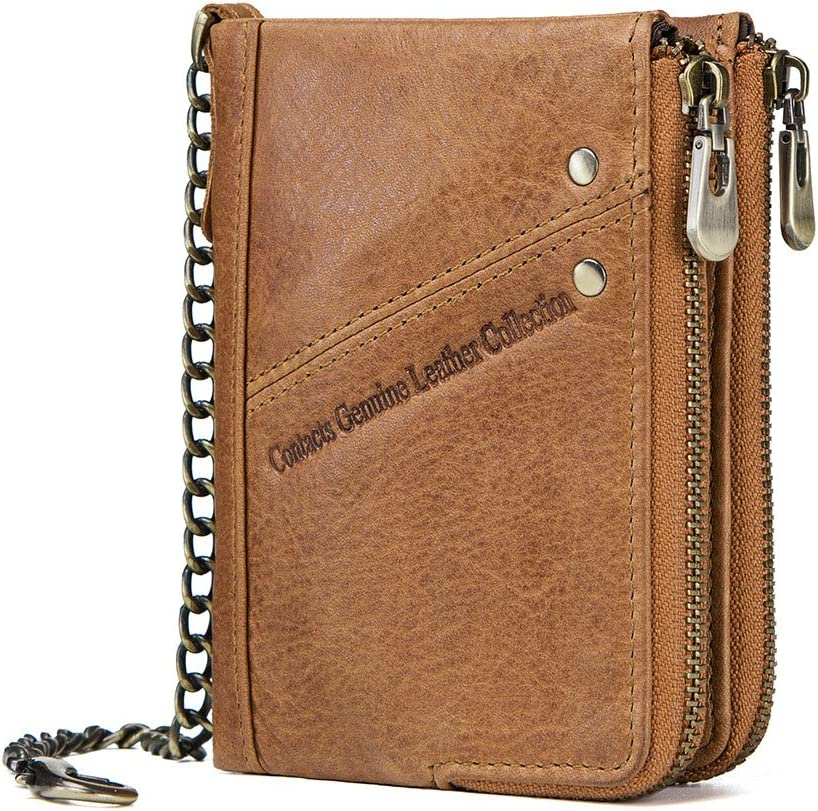 Wallet for Men-Men's Wallets,Contacts RFID Mens Genuine Leather Double Zipper Pocket Bifold Coin Credit Card Wallet with Anti-Theft Chain