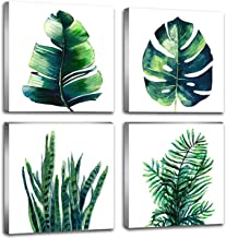Botanical Leaf Wall Art Green Palm Leaves Bathroom Bedroom Home Decor Artwork Set of 4..