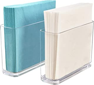 STORi Clear Plastic Holder for Napkins and Plastic Utensils | Set of 2