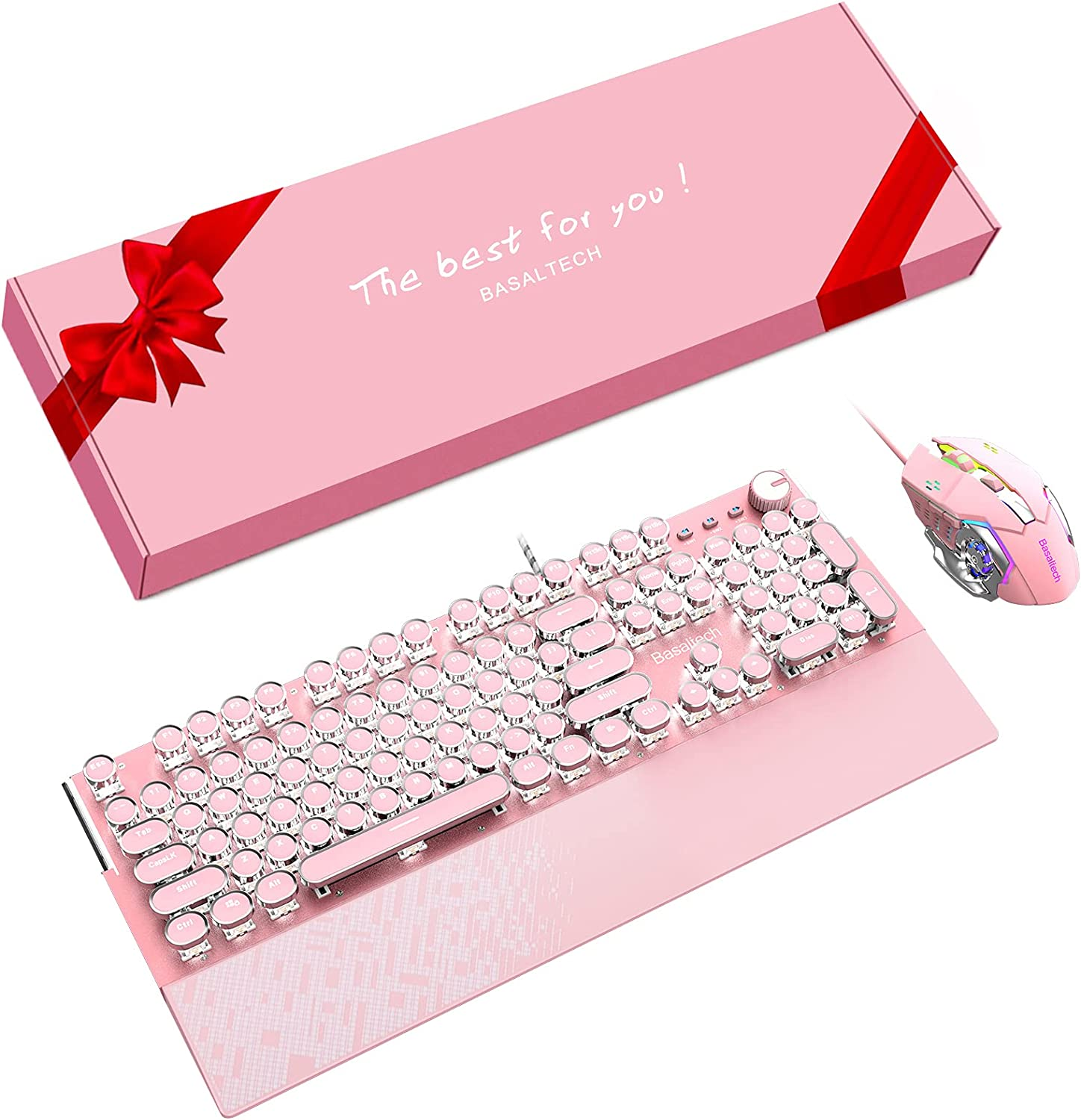 Basaltech 3 IN 1 Pink Gaming Keyboard With White LED Backlight, Magnetic Removable Wrist Rest With Large Table Mat Gift Combo, Retro Keyboard With 3200DPI Game Mouse Wired Keyboard for Game and Office