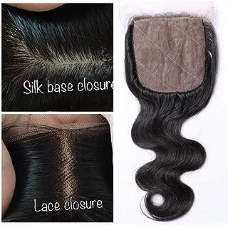 Derun Hair Body Wave Silk Base Top Closure Bleached Knots Free Part 4X4