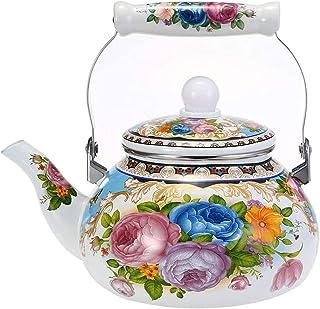 sahadsbv Théière Florale en émail 2.5L, Bouilloire en Porcelaine Blanche émaillée rétro cafetière Turque Bouilloire à thé ...
