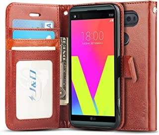 J&D Case Compatible for LG V20 Case, [Wallet Stand] [Slim Fit] Heavy Duty Protective Shock Resistant Flip Cover Wallet Case for LG V20 Wallet Case - Brown