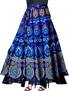FrionKandy Women's 100% Cotton Jaipuri Print Blue A-Line Wrap Around Skirt - Free Size