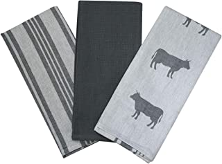 Kitchen Dish Towel by F.E.D, Extra Large Tea Towel in 3 Variations, 100% Professional Cotton, Machine Washable Fabric (Set/Pack of 3) (Grey Cow)