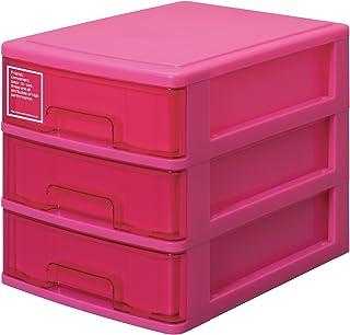 サンコープラスチック 小物収納3段 シルキー 幅25.2×奥35×高28cm ピンク