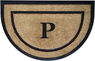 Nedia Home Single Picture Black Frame with Half Round Coir Rubber Border Dirt Buster Mat, 24 by 36-Inch, Monogrammed P
