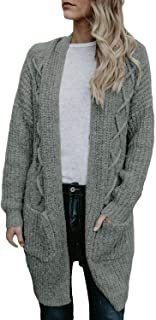 Dokotoo Womens Open Front Long Sleeve Chunky Cable Knit Long Cardigans Sweater with Pockets