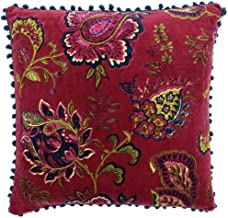 Riva Paoletti Malisa Square Cushion Cover - Pomegranate Red - Paisley Indian Print - Faux Velvet Fabric - Blue Pompom Edge...