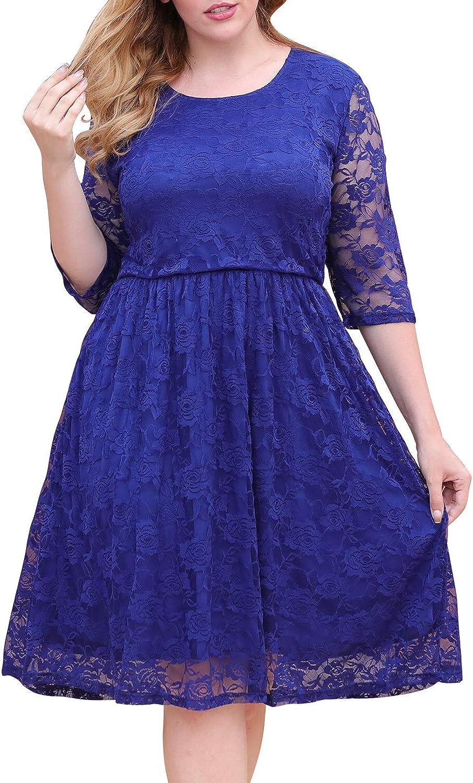 Nemidor Women's Floral Lace Half Sleeve Midi Plus Size Fit and Flare Dress Vintage Cocktail Party Swing Dress NEM246