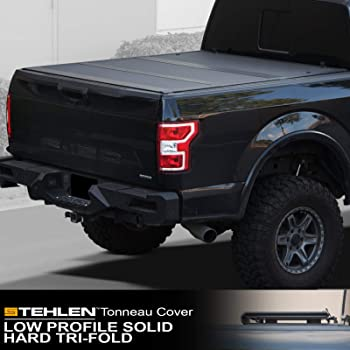 Amazon Com Stehlen 642167822400 Low Profile Hard Plastic Tri Fold Tonneau Cover Matte Black For 2019 2020 Up Dodge Ram 1500 6 4 Feet 76 8 Bed New Body Style Automotive