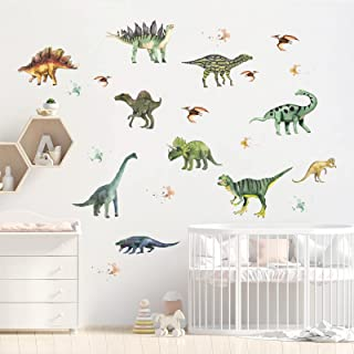 Fuyamp 14Pcs Dinosaur Wall Stickers Dinosaur Wallpaper Kids Wall Stickers for Bedroom Accessories for Boys Girls Baby Room...