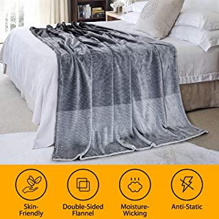 LUXEAR-Warm Fleece Blanket - Japanese Moisture Absorb Heat Storage Winter Blanket for Adults Children Baby on Bed Couch Sofa Cozy, Breathable, Lightweight Keep Warm All Night- 59 X 79 inch-Grey