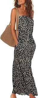 Women Strapleess Floral Print Bohemian Beach Dress Casual Off Shoulder Long Dress with Pockets