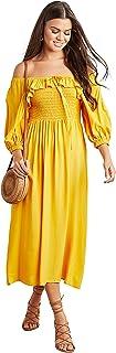Solid Bardot Shirred Midi Women's Dress