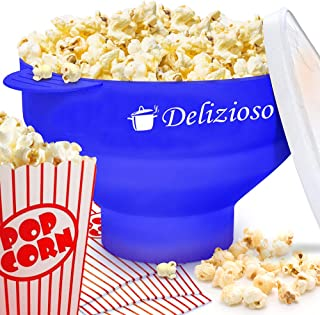 Delizioso The Original Microwave Popper, 4 High Quality Cups and Popcorn Recipes E-BOOK Included, Collapsible Bowl, FDA Approved, No BPA (Blue),