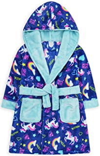 JollyRascals Girls Dressing Gown Kids New Novelty Giraffe Hooded Soft Fleece Robe Age 2-13 Years