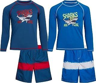 iXtreme Baby Boys' Rash Guard Set - 4 Piece UPF 50+ Long Sleeve Swim Shirt and Bathing Suit