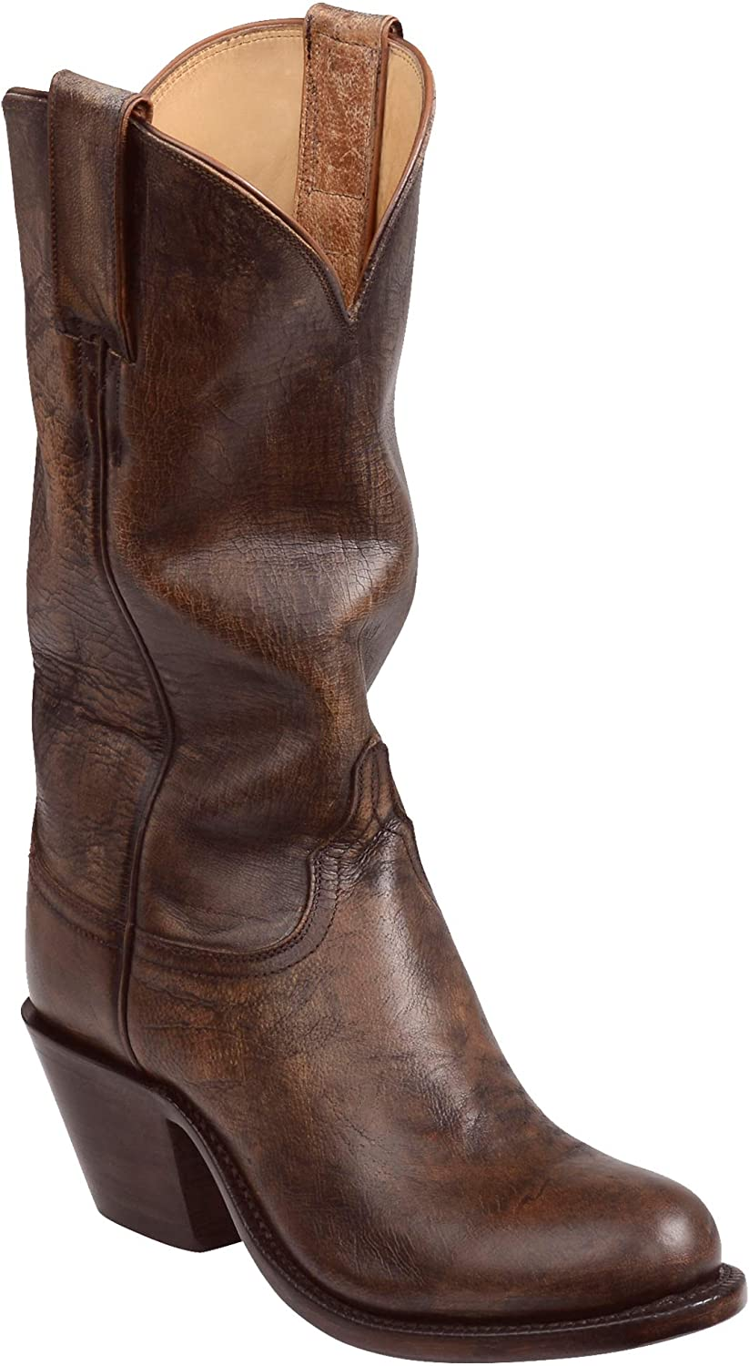 Lucchese Womens Britton Goat Round Toe Boots Mid Calf Mid Heel 2-3