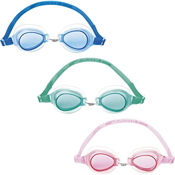 Bestway 21002, Occhialini 21002-Occhialini High Style, Silicone, Colori Assortiti, Verde Acqua/Azzurro/Viola, 3-6 Anni