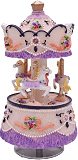 Laxury Clockwork Mechanism 3-horse Carousel Music Box Melody Carrying You from Castle in the Sky(Laputa)(Purple)