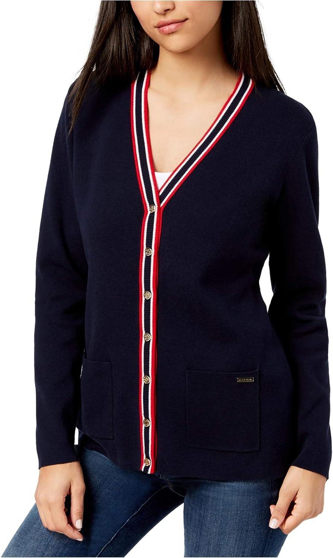 Tommy Hilfiger Womens Striped Trim Cardigan Sweater