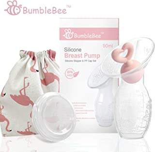 Bumblebee Breast Pump Manual Breast Pump Breastfeeding Collection Cups Pink Pump Stopper lid Pouch in Gift Box bpa Free Food Grade Silicone Breast Pump
