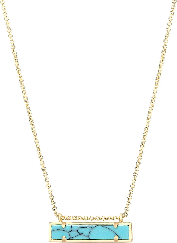 specialty shop SOFYBJA 18k Gold Chain Choker Bar Turquoise Beads Necklac Dainty Under blast sales
