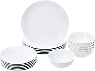 AmazonBasics 18-Piece Kitchen Dinnerware Set, Dishes, Bowls, Service for 6, White Embossed Porcelain