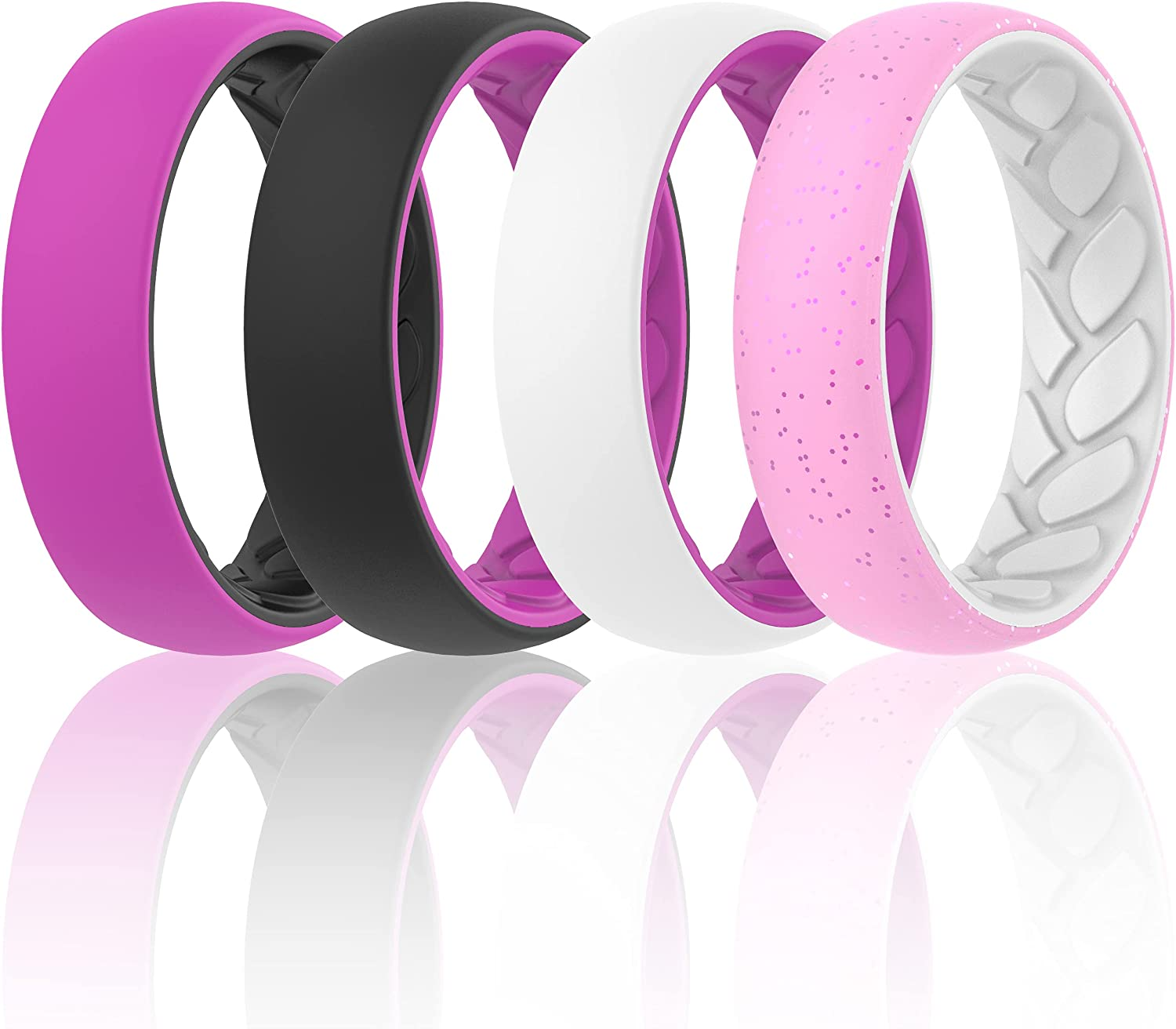 ThunderFit Silicone Wedding Bands for Women, 2 Layer - 5.5mm Width - 2mm Thick