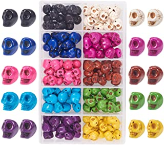PandaHall Elite 150 Pcs Turquoise Dyed Skull Head Loose Spacer Beads Charm 10 Colors for Jewelry Making