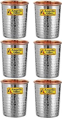Angelic Copper Steel Hammered Glasses Set, 260 ml, Set of 6, Brown