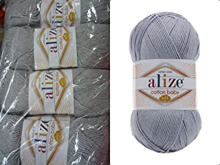50% Cotton 50% Acrylic Soft Yarn for Baby Blanket Alize Cotton Baby Soft Crochet Lace Embroidery Art Craft Sewing Kit Hand Knitting Yarn Lot of 4skn 400gr 1180yds Color Gray Melange 21