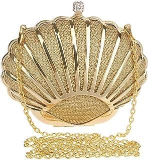 Dinner Shell Metal Diamond Dinner Bag Women's Luxury Party Bags Celebrity Evening Clutch Bag Messenger Bag Shoulder Bag Wrist Bag 310g Grace (Color : Gold)