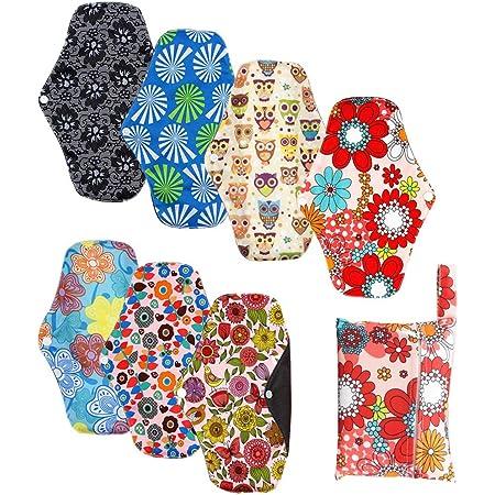 Serviette Hygienique Lavable Reutilisable, Pads Menstruelle Chiffon Nuit, Protection Femme en Fibre Bambou, Pliables et Respirantes (7+1)