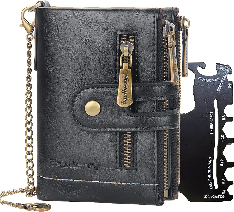 Ecosusta Chain Wallets for Men,Leather Men Credit Card Holder Wallet,RFID Blocking Zip Coin Pocket, Zipper Black Wallet with ID Window