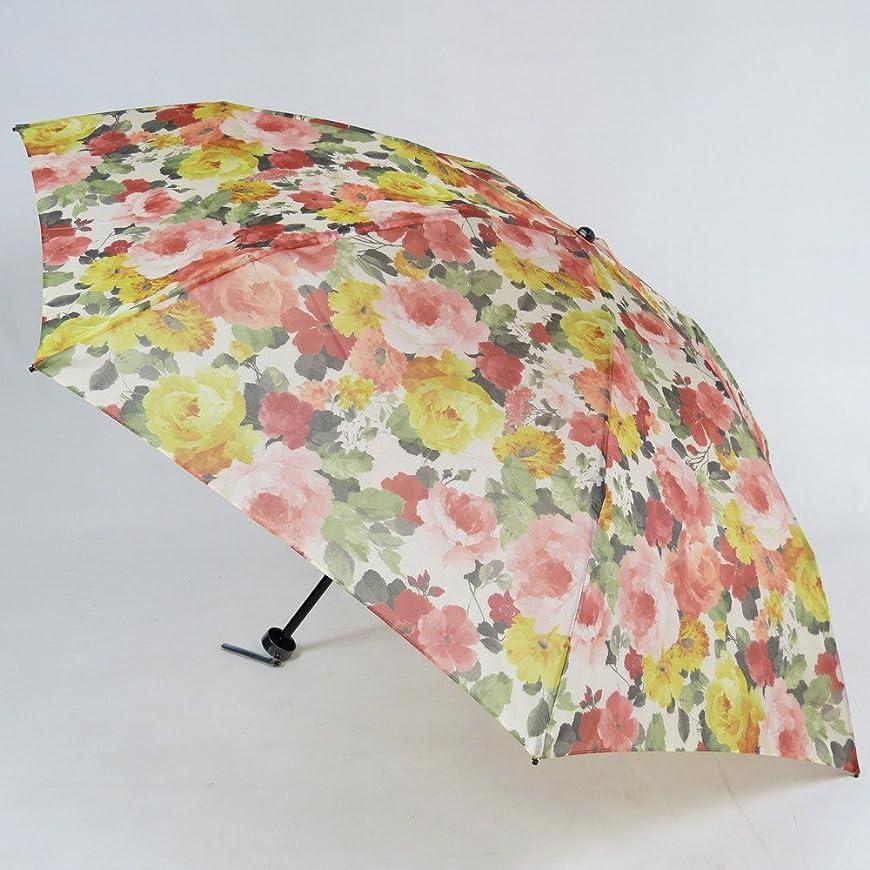 しわまっすぐ陽気なレディース雨傘 折傘 ミニ 3段式 オーガンジーアンブレラ 「スモリー」 花柄 軽量 おしゃれ 雨晴兼用雨傘 uvカット加工 折りたたみ傘 日本製 エイト 25135
